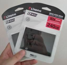 SSD Kingston A400 240GB Sata, 500MB/s Leitura, 350MB/s Gravação - Novo, Lacrado