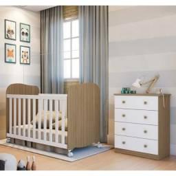 Quarto Infantil Com Cômoda Junior e Berço Uli - Móveis Peroba