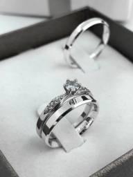 Par aliança prata 950