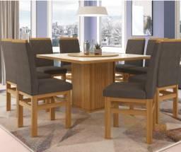 Conjunto Sala de Jantar 8 Cadeiras Estofado Suede