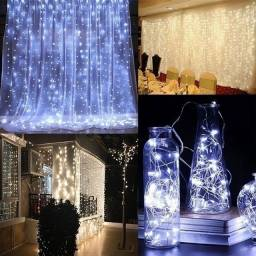 Cortina de LED controle remoto - 300 Leds - Branco frio