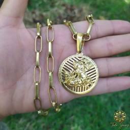 Cordão+pingente 100% moeda antiga
