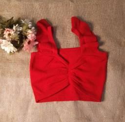 Croped modal feminino vermelho tam unico