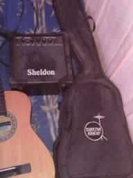 Guitarra e violão e caixa som
