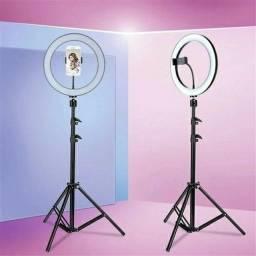 Ring Light com tripé de 2 metros e suporte para celular