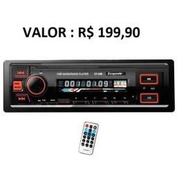 Som Automotivo Ecopower Bluetooth/4 Saídas RCA/Carrega Celular/ Controle Remoto/ 2 USB