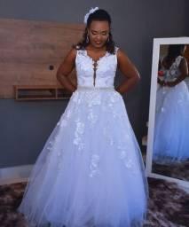 Vestido de noiva renda 3D