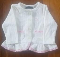 Cojunto blusa e calça Calvin Klein - tamanho 3 meses P - branca com rosa