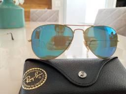 Óculos de sol Ray-Ban Aviador lente azul espelhada