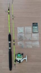 kit de pesca 100 itens + vara 1.40 mt suporta 15 kg + molinete sumax com linha