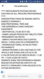 Garçom/garçonete free lancer