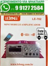 Mini Modulo Amplificador Com Karaoke Mp3 Fm USB + Fonte 12v LE-702 (Novo)
