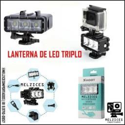 Lanterna de Led Triplo Subaquática para GoPro e Similares