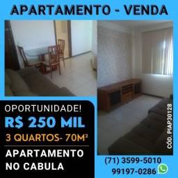 Apartamento no Cabula,70m², 3 quartos, com móveis planejados, nascente