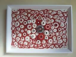 Quadro Abstrato Tipo Colagem Vermelho Branco
