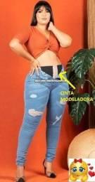 Calça Jeans Plus Size Lipo Com Cinta Modeladora (NOVA)