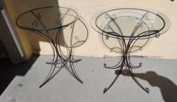 Mesas de ferro com vidros