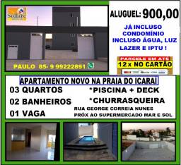 Alugo Apartamento Novo na Praia de Icaraí, 03 Quartos e Lazer Com Piscina