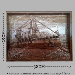 Navio marinha entalhado em madeira nobre