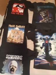 Camisas de banda - Iron Maiden, Scorpions e Metallica - Unidade