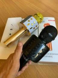Microfone Karaokê Bluetooth com controle mixer