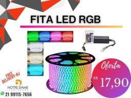 Título do anúncio: Mangueira Flexível / Fita led RGB Colorida 14.4w/m 127v Sua cor na palma da mão