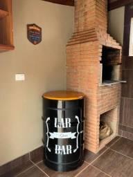 Bistro barzinho de tambor, barril, latão, tonel, banquetas decorativo
