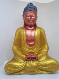 Buda Grande cor Cobre e Dourado de 30 centímetros de comprimento