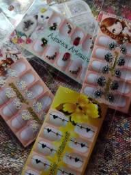 10 cartela de adesivos de unhas