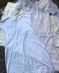 Vestido branco duas peças