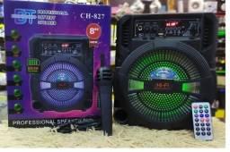 Caixa de Som CH-827 200w TWS Bluetooth Microfone Radio USB Sd