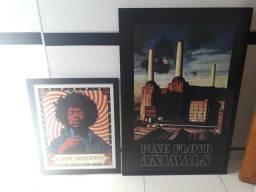 Quadros Pink Floyd e Jimi Hendrix