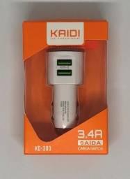 Carregador Veicular Turbo 3.4A 2 Portas Usb Kaidi KD-303 Novo na Caixa