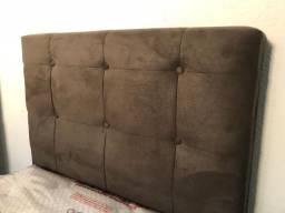 Cabeceira Estofada Solteiro em Suede Conforto Total Largura 90 cm - Nova!
