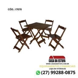 Conjunto Bar 70 x 70 - Mesa e 4 Cadeiras da Maplan - Cor Imbuia
