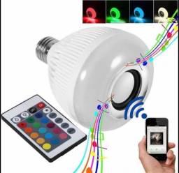 Lâmpada Caixa de Som Bulbo Led RGB Musical + Controle Remoto com 16 Cores  E27 12w