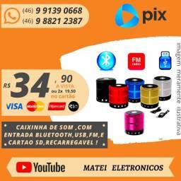 Mini Caixinha Som Portátil Bluetooth Mp3 Fm Sd Usb