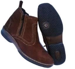 botina com ziper botinha couro legitimo bota solado costurado