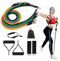 Kit Elástico Extensor 11 Peças Treinamento Fitness Pilates Treinos Corpo Casa(r)