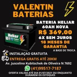 Bateria nova60ah Heliar-6X Sem juros-Entrega gratis ate 20 km-Ficamos no CIC-