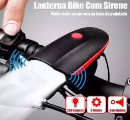 Promoção Farol De Bike Buzina Lanterna Recarregável Usb, Nova, Entregamos