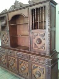 Estante + mesa de madeira antiga cerejeira!!!