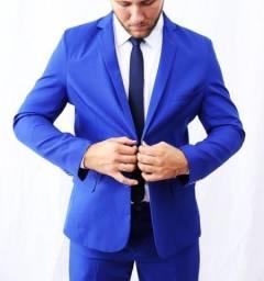 Terno slim fit azul royal- 44 ao 52 calca 38 ao 46