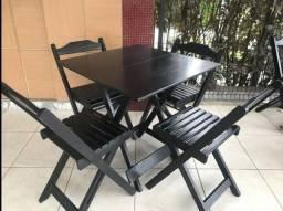 Mesa dobrável + cadeiras - preto/imbuia/mel