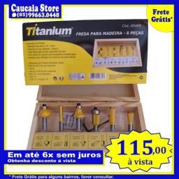 Fresas 6mm Titanium 6 peças e maleta