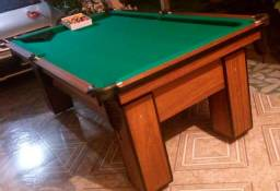 Mesa de Bilhar e Sinuca Charme Imbuia com Tecido Verde Mod ASD9213