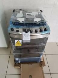 Fogão Brastemp cor Inox com dupla chama, grill e timer 4 bocas 110V modelo BFS4GAB
