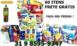 Cesta Básica + Kit Lanche + Kit Limpeza & Higiene = 60 itens - Frete Grátis