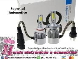 Kit Lâmpadas Farol Ultra super Led H1/H4/H8/H9/H11/H27. Disponível na loja.