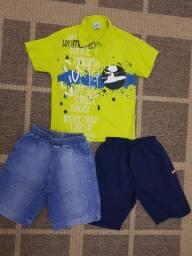 Conjunto, menino, bermuda, jeans, camisa, lote, infantil, criança